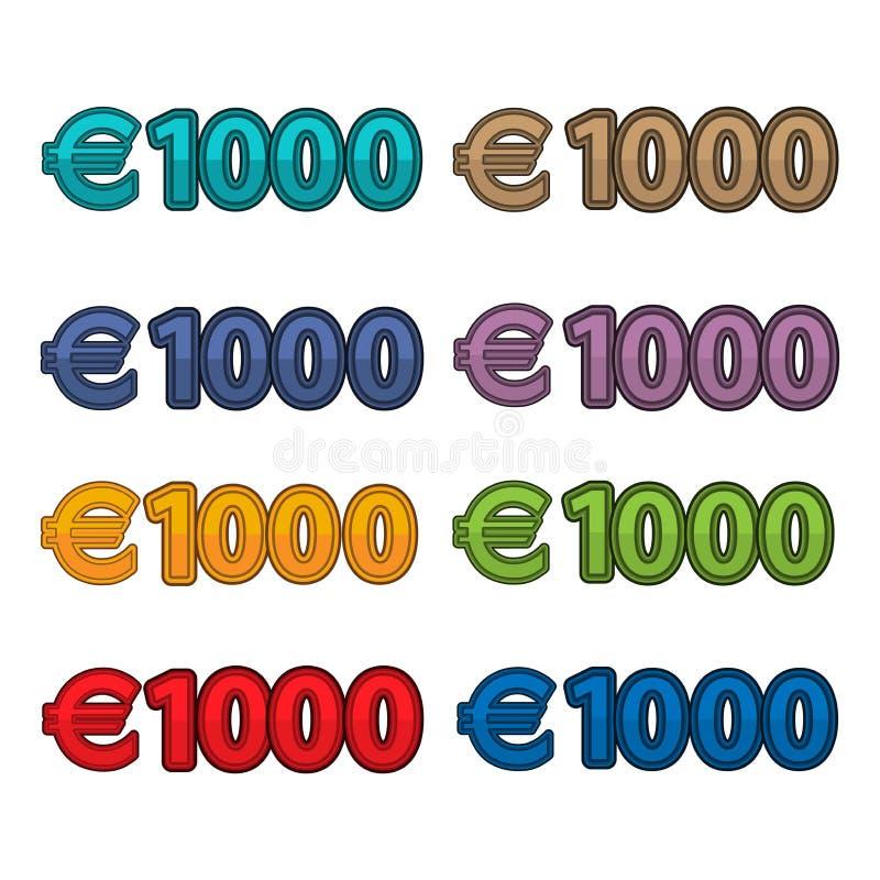 Vetor da ilustração do euro do preço 1000, moeda de Europa ilustração royalty free