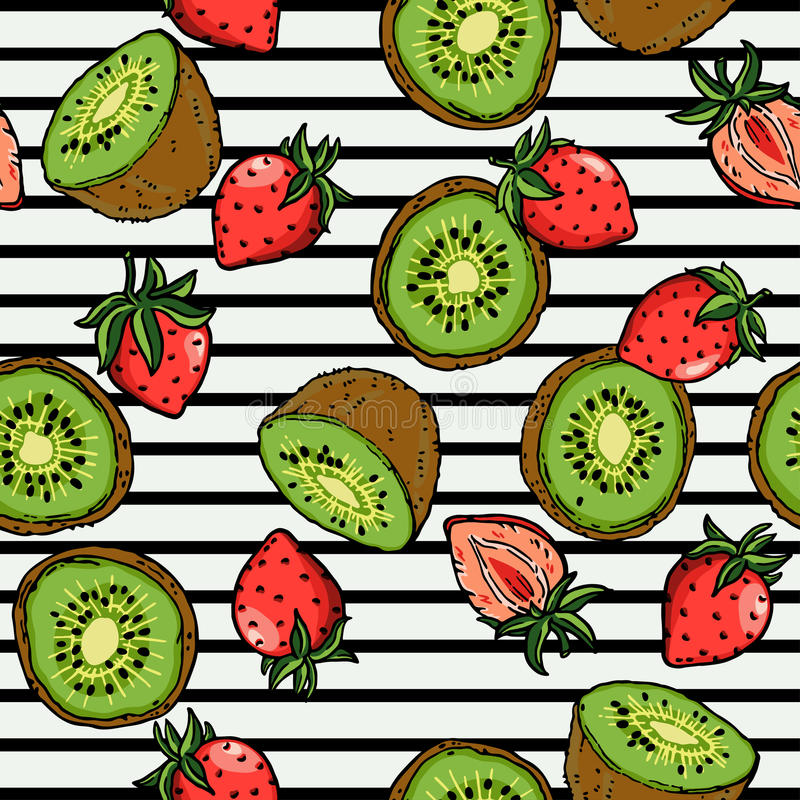 Vetor da ilustração do fundo de Kiwi Strawberry Surface Pattern Fruity ilustração do vetor