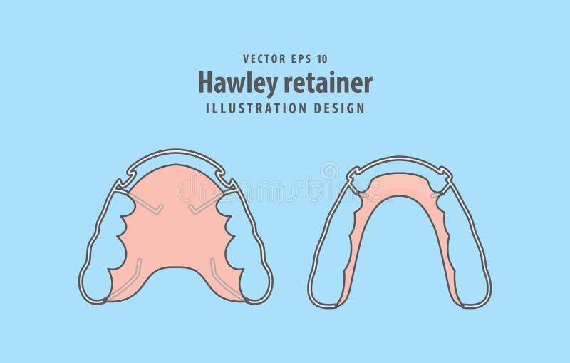 Vetor da ilustração do retentor de Hawley no fundo azul C dental ilustração royalty free