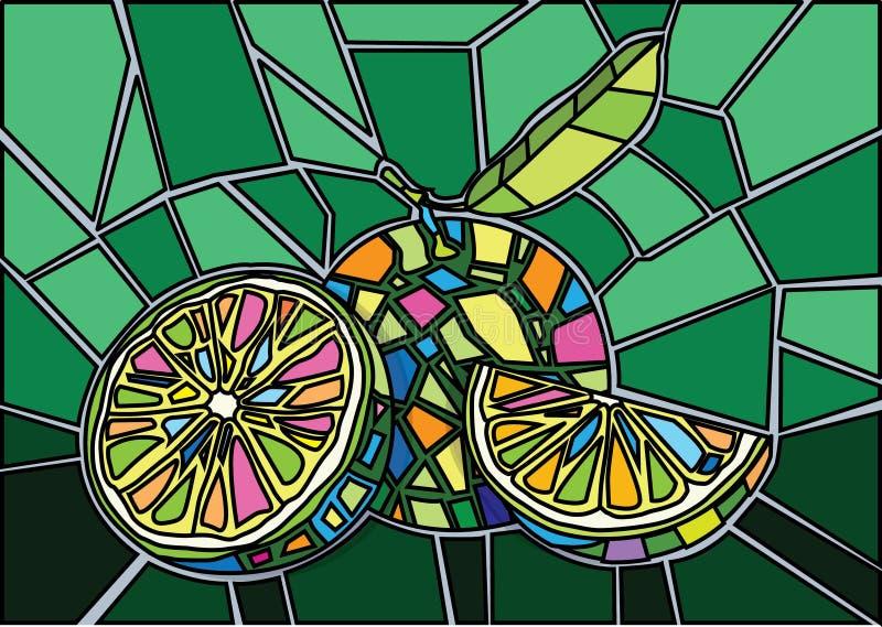 Vetor da ilustração do vitral do limão ilustração stock