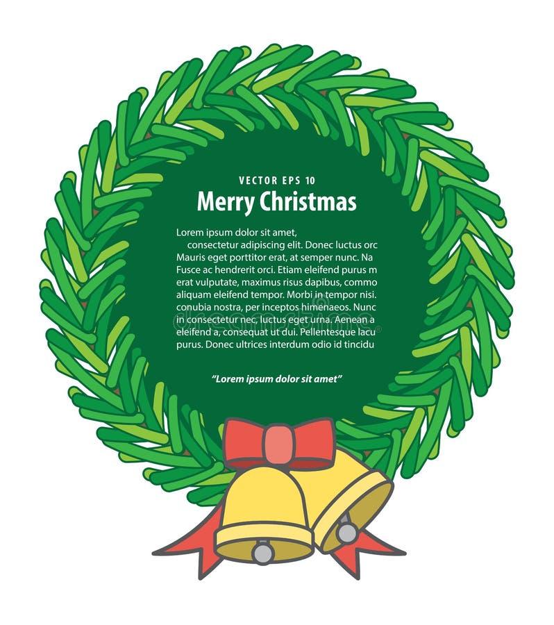 Vetor da ilustração da grinalda e do sino do Natal da bandeira nos vagabundos brancos ilustração do vetor