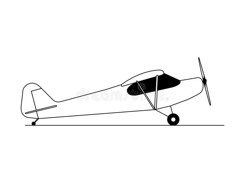 Vetor da ilustração da opinião lateral do avião do passatempo ilustração do vetor