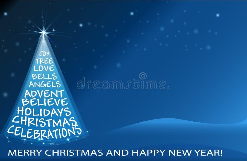 Vetor da imagem de cartão dos cumprimentos do vetor da árvore de Natal ilustração stock