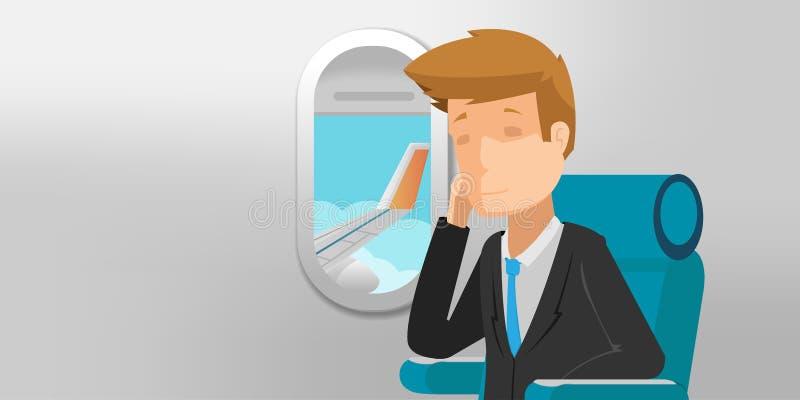 Vetor da janela do avião da opinião de homem de negócio ilustração royalty free