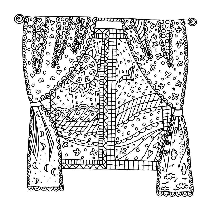Vetor da janela, emaranhado do zen da janela, garatuja do zen ilustração stock