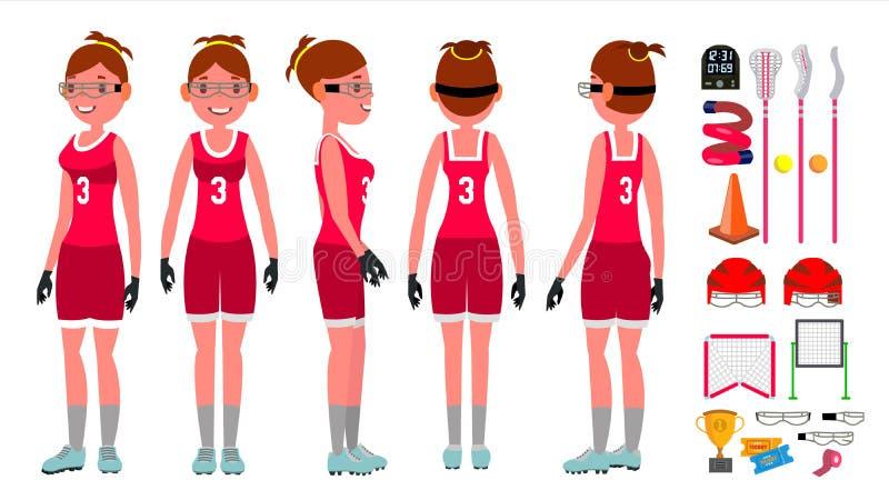 Vetor da lacrosse das mulheres s Prática da lacrosse teammates Jogador agressivo das mulheres s Personagem de banda desenhada lis ilustração royalty free