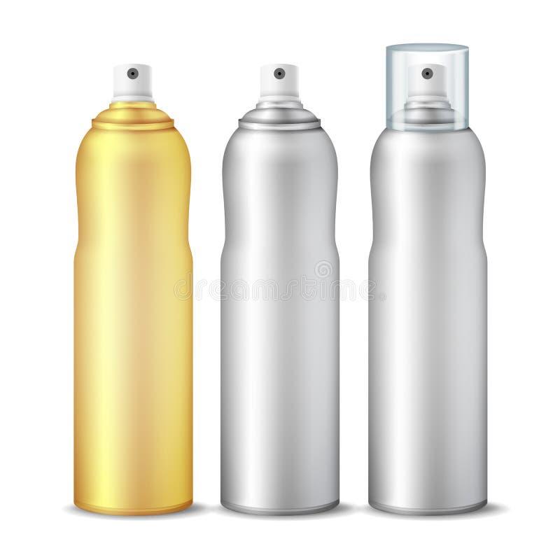 Vetor da lata de pulverizador A garrafa 3D limpa pode pulverizar Projeto de marcagem com ferro quente Desodorizante com tampa e s ilustração stock