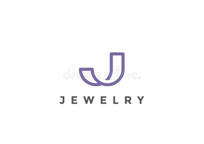 Vetor da letra J Logo Monogram linear ilustração stock