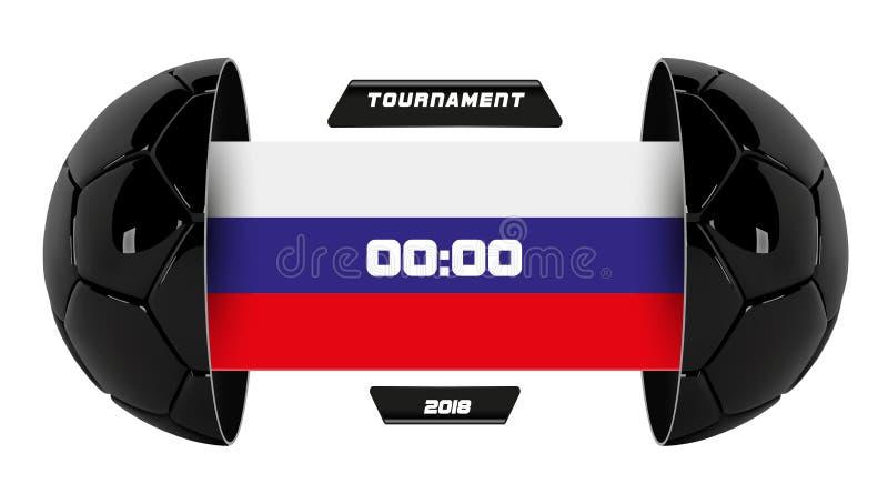 Vetor da liga de futebol com a competição e o placar da equipe isolados no fundo branco Bandeira branca do futebol com 3d ilustração stock