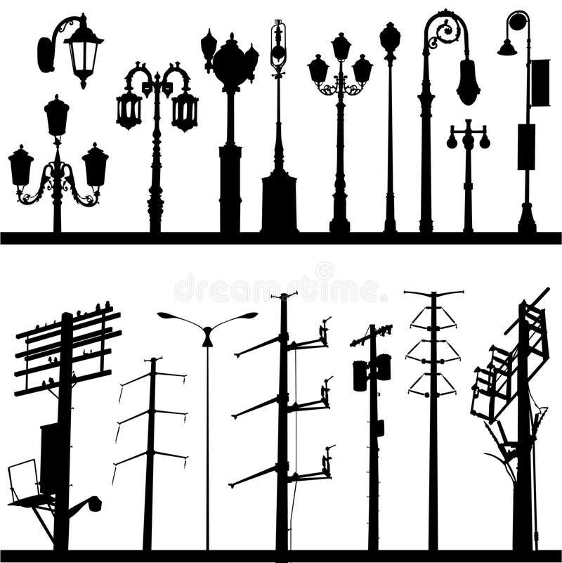 Vetor da linha eléctrica e do lamppost ilustração royalty free