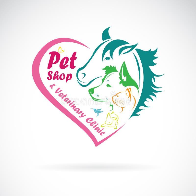 Vetor da loja de animais de estimação e da clínica veterinária em um fundo branco pet animais , Logotipo da loja de animais de es ilustração stock