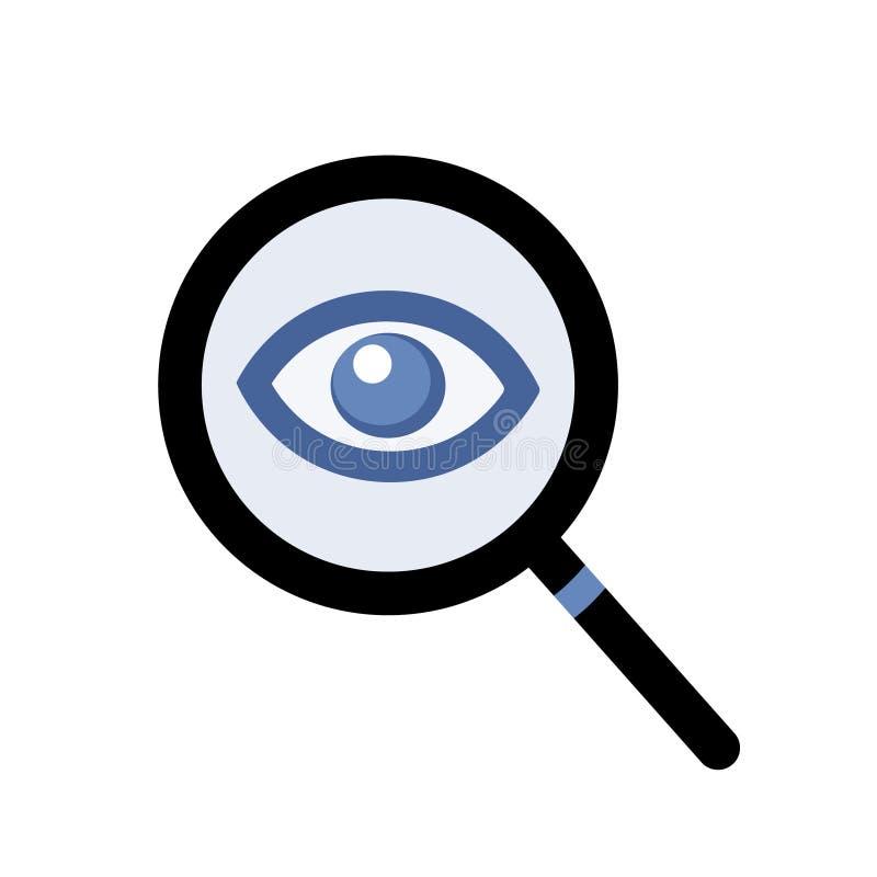 Vetor da lupa e do olho Símbolo simples do ícone para espiar/que olha ilustração royalty free