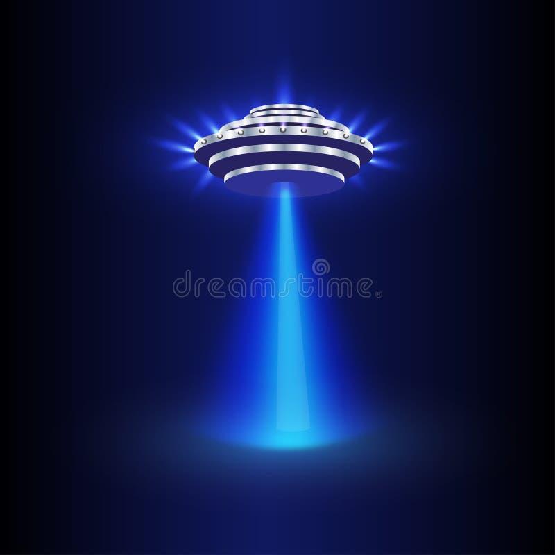 Vetor da luz do UFO Feixes estrangeiros do céu Nave espacial do UFO com feixe, ilustração do voo do UFO dos pires ilustração stock