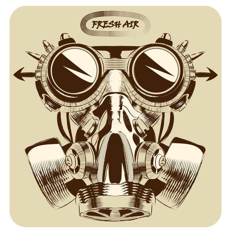 Vetor da máscara de gás do vintage que tira a arte agradável ilustração stock