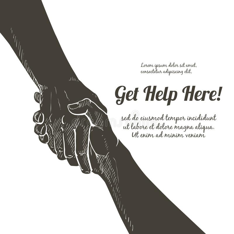 Vetor da mão amiga Gesto, sinal da ajuda e esperança ilustração royalty free