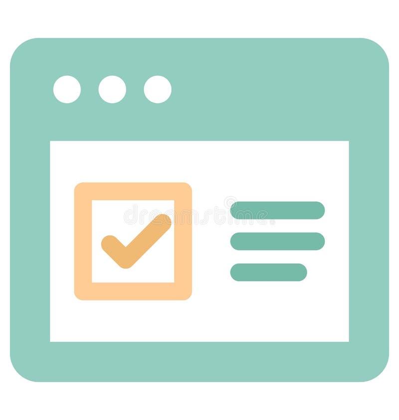 Vetor da marca de verificação relativo às janelas do web browser e vetor inteiramente editável da marca de verificação relativo à ilustração do vetor