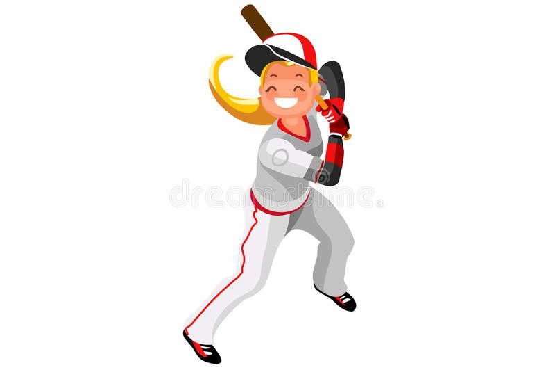 Vetor da mascote da menina do vetor do basebol ilustração royalty free