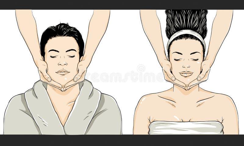 Vetor da massagem - homem/mulher imagem de stock royalty free