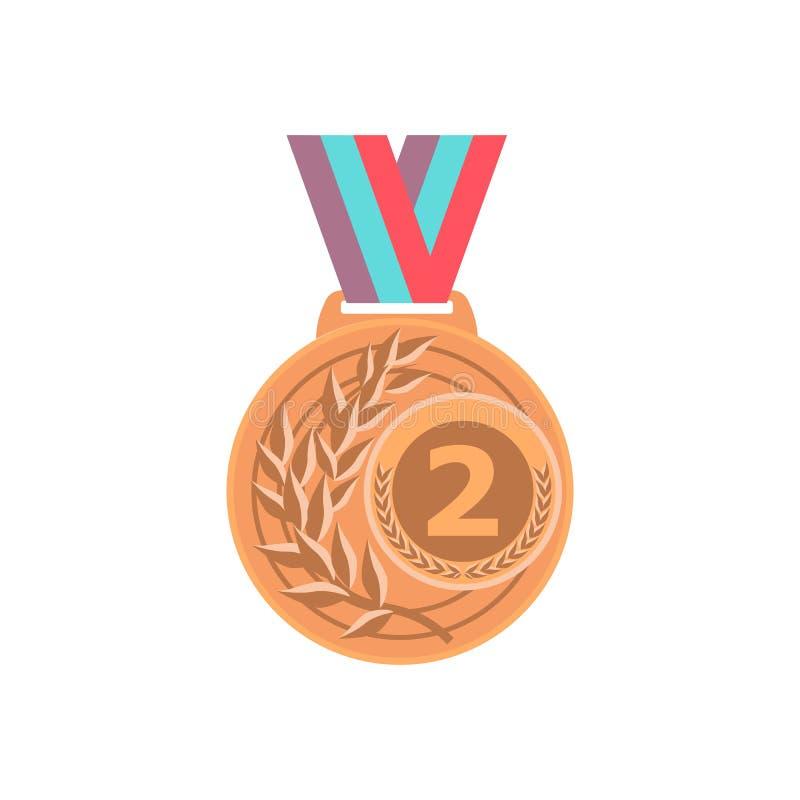 Vetor da medalha de ouro ? crach? dourado do lugar Concess?o dourada do desafio do jogo do esporte Fita vermelha Isolado Olive Br ilustração do vetor