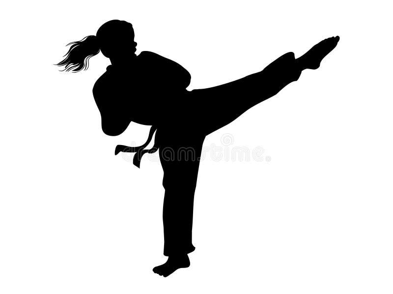 Vetor da menina do karaté Silhueta da menina do lutador ilustração royalty free