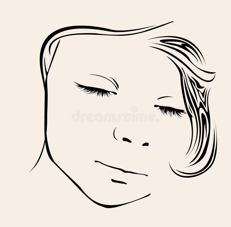 Vetor da menina do sono ilustração royalty free