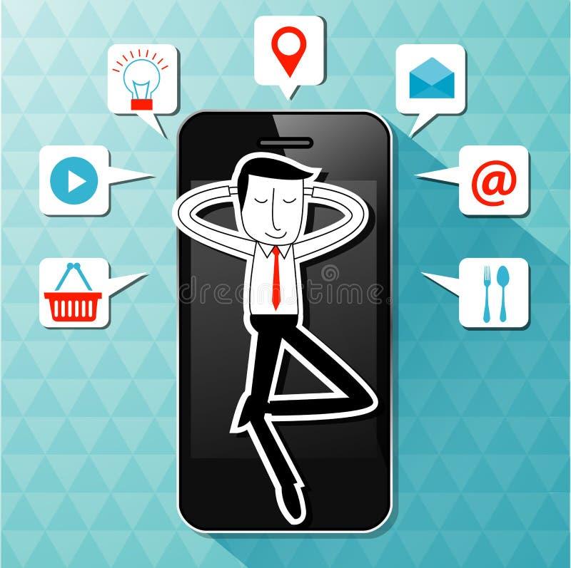 Vetor da mentira do homem de negócios no smartphone com ícone da aplicação ilustração stock
