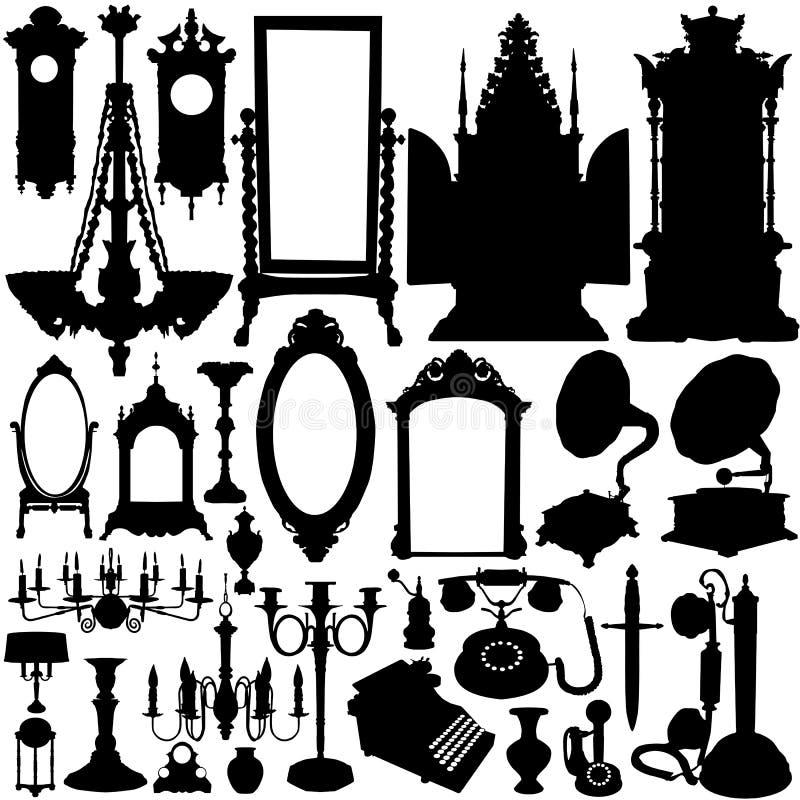 Vetor da mobília antiga e dos objetos ilustração do vetor