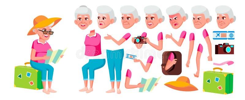 Vetor da mulher adulta Person Portrait superior Pessoas adultas envelhecido Grupo da criação da animação Emoções da cara, gestos  ilustração do vetor