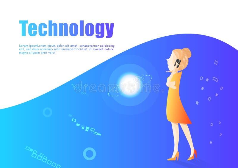 Vetor da mulher de negócio, projeto do caráter do mercado e da tecnologia digital, aluguer e trabalhadores lisos da apresentação  ilustração stock