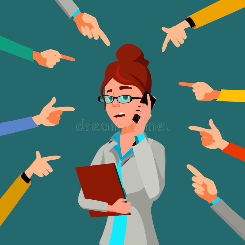 Vetor da mulher de negócio da vítima Censura pública scapegoat Trabalhador tiranizando Mãos que apontam o dedo Ilustração ilustração royalty free
