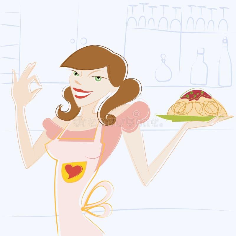 Vetor da mulher e do alimento ilustração royalty free