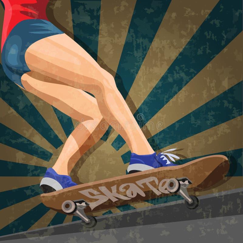 Vetor da mulher essa patinagem no skate ilustração royalty free