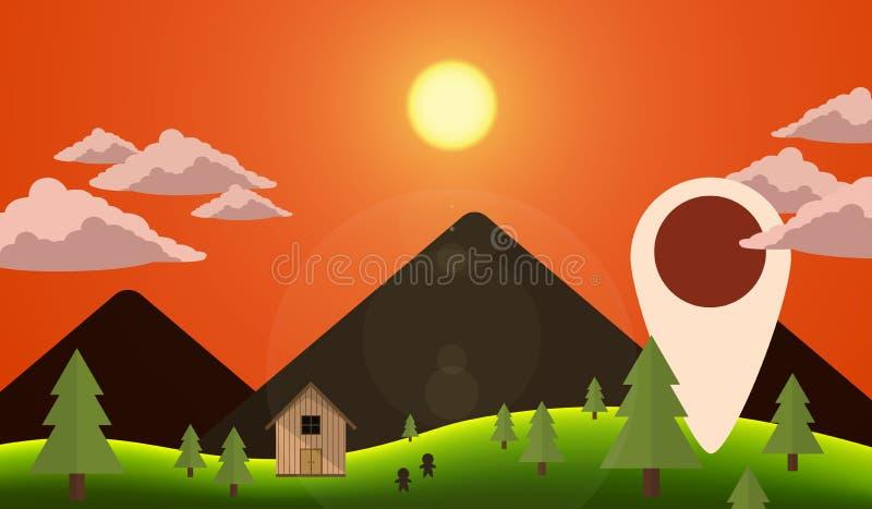 Vetor da navegação da montanha da noite da paisagem fotos de stock royalty free