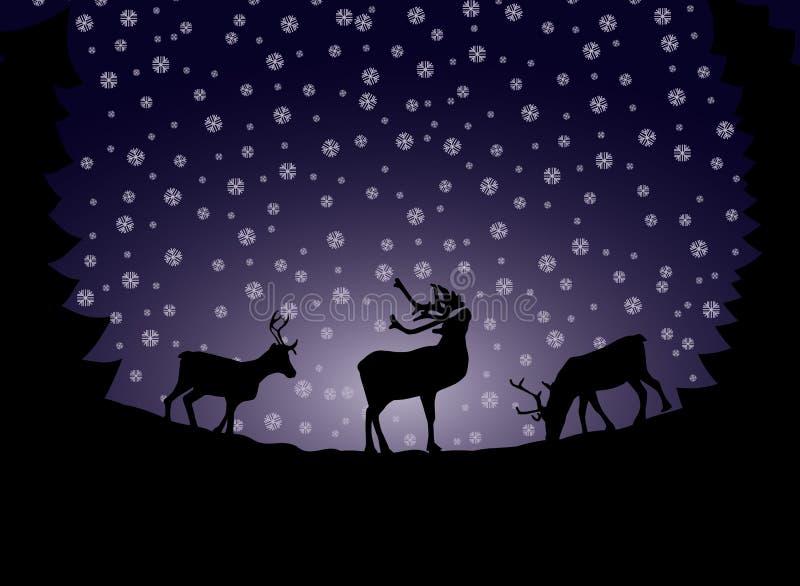 Vetor da neve da silhueta da sombra do cartão de Natal da rena ilustração royalty free