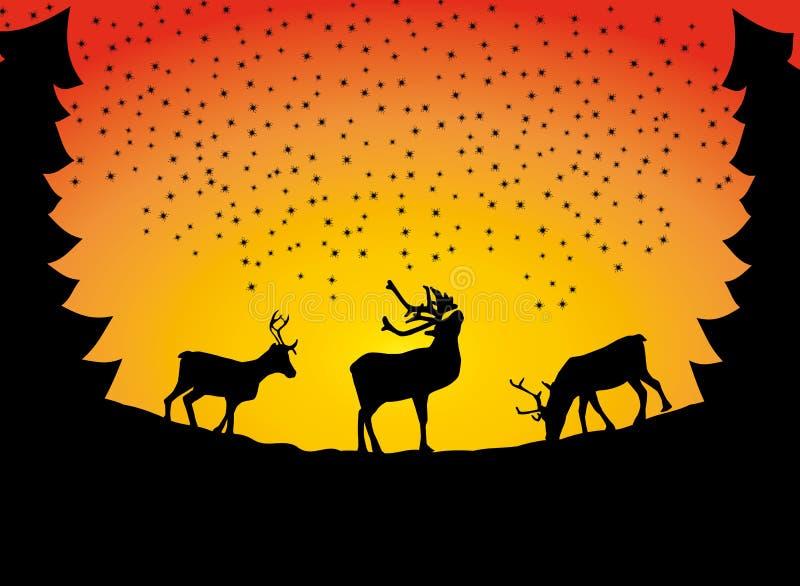 Vetor da neve da silhueta da sombra do cartão de Natal da rena ilustração do vetor