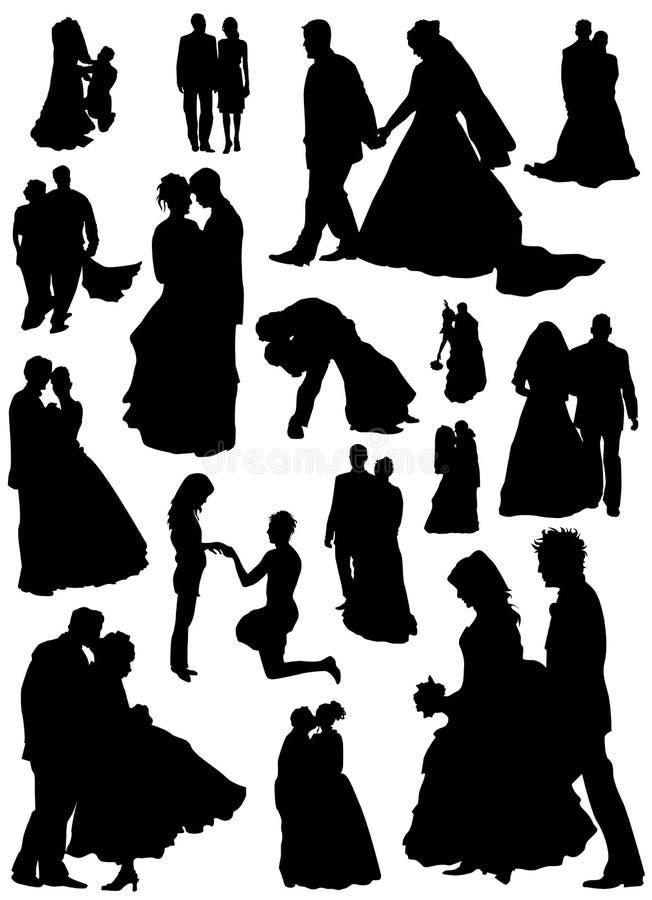 Vetor da noiva e do noivo