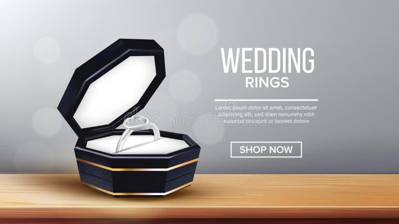 Vetor da página da aterrissagem da caixa de Ring With Heart Form In ilustração royalty free
