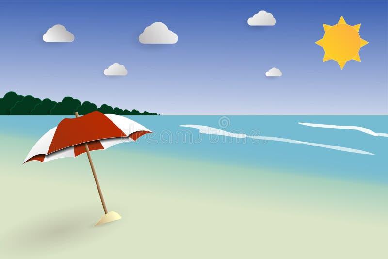 Vetor da paisagem do papercut da praia, seascape para o verão, férias de verão ilustração do vetor
