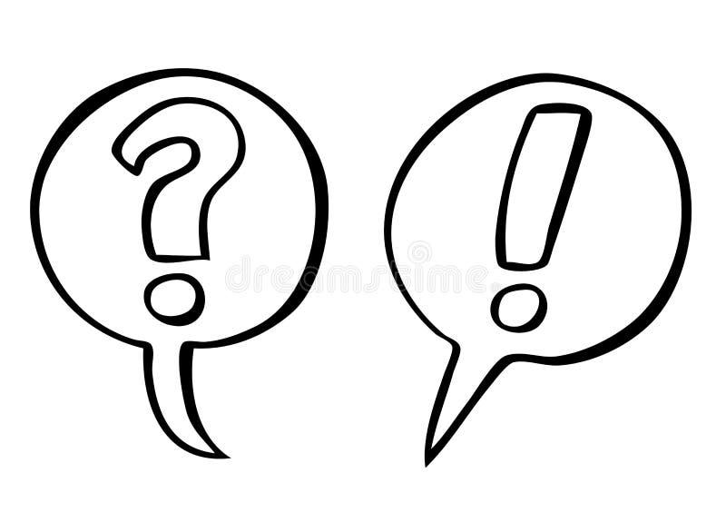 Vetor da pergunta e das marcas de exclamação ilustração stock
