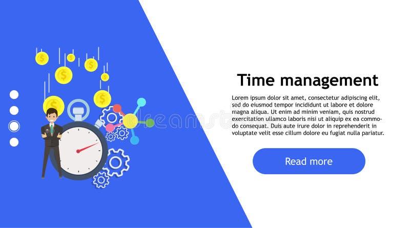 Vetor da pessoa do negócio do conceito do relógio de ponto Ícone profissional isolado do trabalho do símbolo Gestão da ideia do s ilustração royalty free