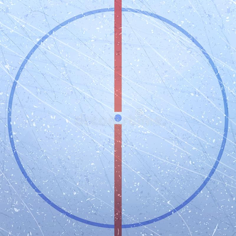 Vetor da pista do hóquei em gelo Textures o gelo azul Pista de gelo Estádio do hóquei em gelo Figura do campo de ação A central ilustração do vetor