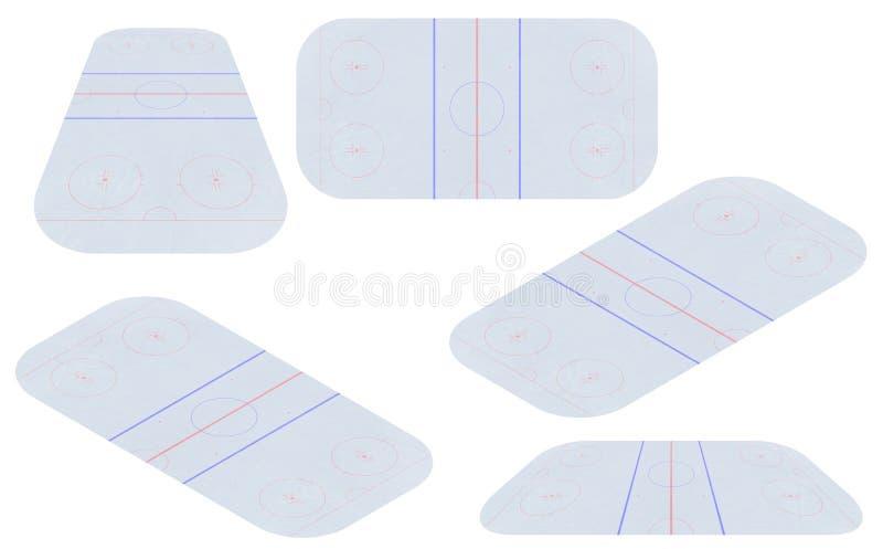 Vetor da pista do hóquei em gelo Textures o gelo azul Pista de gelo Vista superior Fundo da ilustração do vetor ilustração royalty free