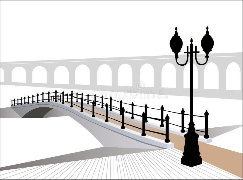 Vetor da ponte do inverno ilustração stock