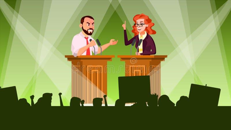 Vetor da reunião política Campanha politica tribune Treinamento do orador Persuade para votar Propaganda do candidato ilustração do vetor