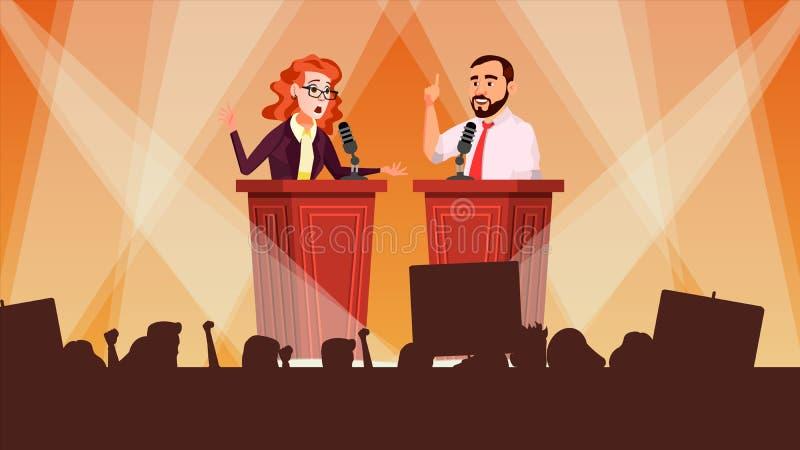 Vetor da reunião política Conceito dos debates Apresentação principal tribune Discurso do candidato Multidão dos povos com apoio ilustração do vetor