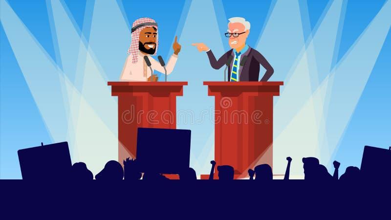 Vetor da reunião política Os oradores endereçam uma audiência tribune Votação da campanha eleitoral Ilustração lisa dos desenhos  ilustração stock