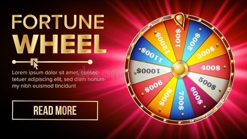 Vetor da roda da fortuna Lazer da possibilidade do jogo Roda de jogo colorida Fundo premiado do conceito do jackpot brilhante ilustração do vetor