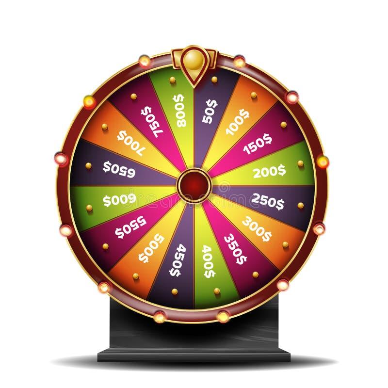 Vetor da roda da fortuna objeto 3d Roleta da fortuna da vitória Roda colorida Isolado na ilustração branca ilustração do vetor