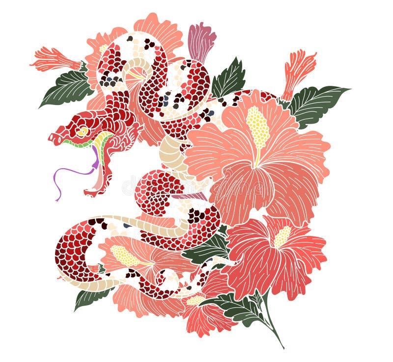 Vetor da serpente e projeto japoneses da ilustração no fundo preto e branco ilustração stock