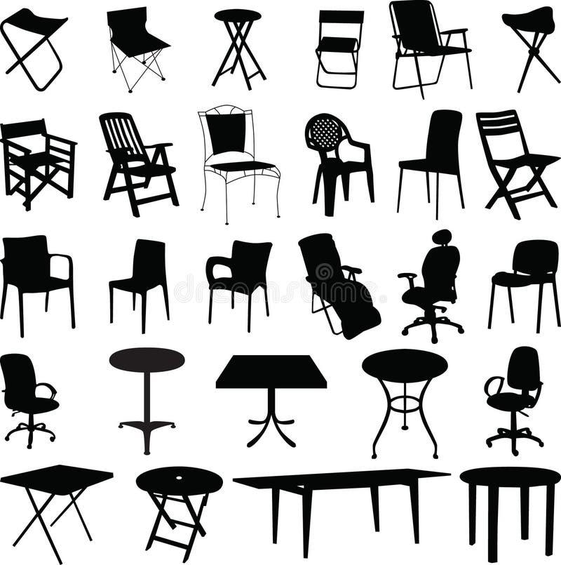 Vetor da silhueta da cadeira e da tabela